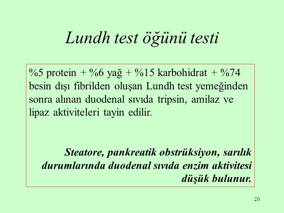 20 Lundh test öğünü testi %5 protein + %6 yağ + %15 karbohidrat + %74 besin dışı fibrilden oluşan Lundh test yemeğinden sonra alınan duodenal sıvıda t