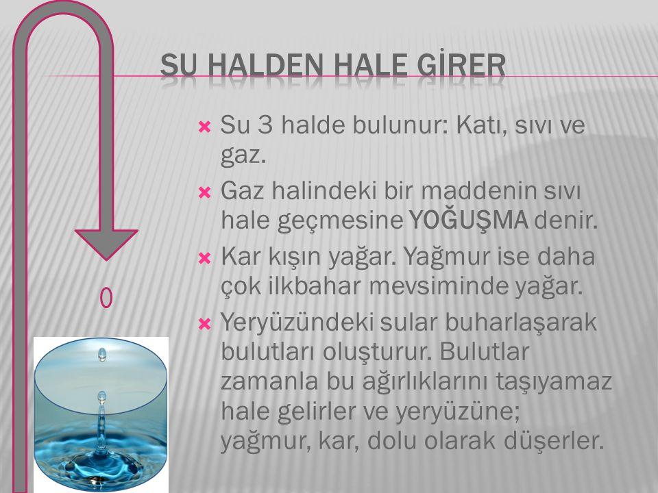  Su 3 halde bulunur: Katı, sıvı ve gaz.  Gaz halindeki bir maddenin sıvı hale geçmesine YOĞUŞMA denir.  Kar kışın yağar. Yağmur ise daha çok ilkbah