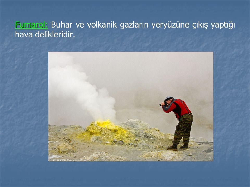 Fumarol: Fumarol: Buhar ve volkanik gazların yeryüzüne çıkış yaptığı hava delikleridir.