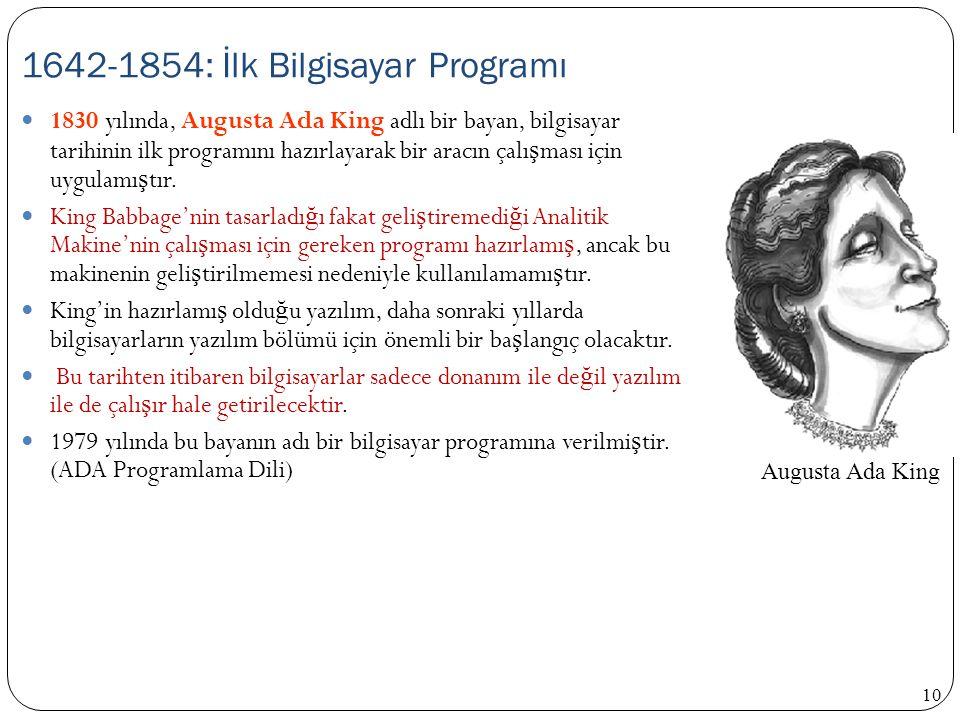 10 1830 yılında, Augusta Ada King adlı bir bayan, bilgisayar tarihinin ilk programını hazırlayarak bir aracın çalı ş ması için uygulamı ş tır. King Ba