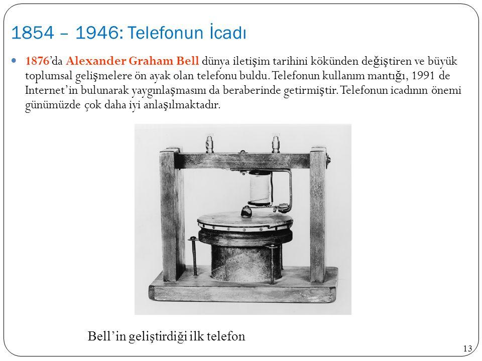 13 1876'da Alexander Graham Bell dünya ileti ş im tarihini kökünden de ğ i ş tiren ve büyük toplumsal geli ş melere ön ayak olan telefonu buldu. Telef