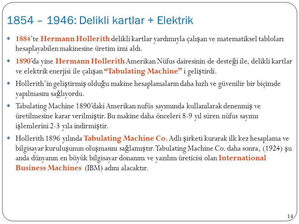 14 1884'te Hermann Hollerith delikli kartlar yardımıyla çalı ş an ve matematiksel tabloları hesaplayabilen makinesine üretim izni aldı. 1890'da yine H