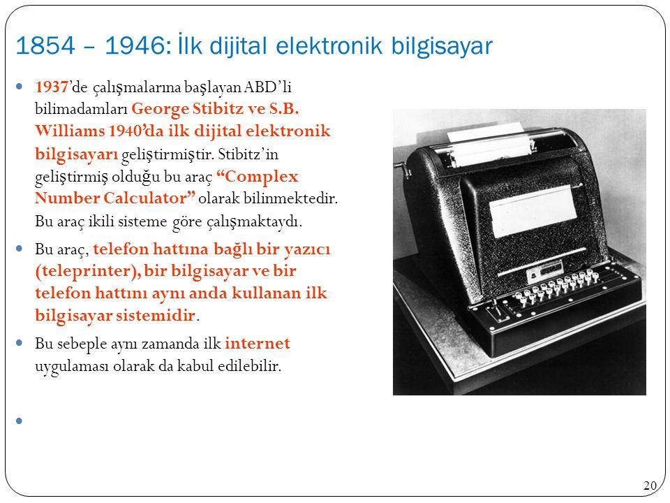 20 1937'de çalı ş malarına ba ş layan ABD'li bilimadamları George Stibitz ve S.B. Williams 1940'da ilk dijital elektronik bilgisayarı geli ş tirmi ş t