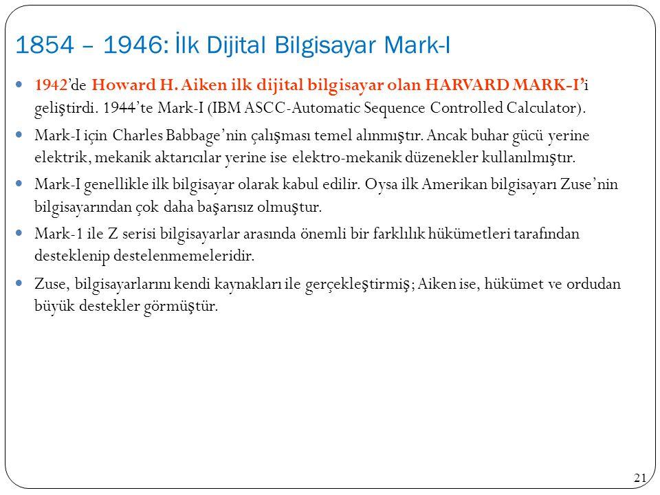 21 1942'de Howard H. Aiken ilk dijital bilgisayar olan HARVARD MARK-I'i geli ş tirdi. 1944'te Mark-I (IBM ASCC-Automatic Sequence Controlled Calculato