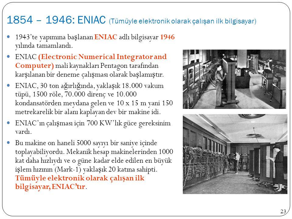 23 1943'te yapımına ba ş lanan ENIAC adlı bilgisayar 1946 yılında tamamlandı. ENIAC (Electronic Numerical Integrator and Computer) mali kaynakları Pen