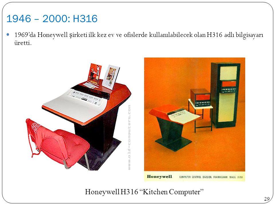 29 1969'da Honeywell ş irketi ilk kez ev ve ofislerde kullanılabilecek olan H316 adlı bilgisayarı üretti. 1946 – 2000: H316 NAME NAME H316 - Kitchen c