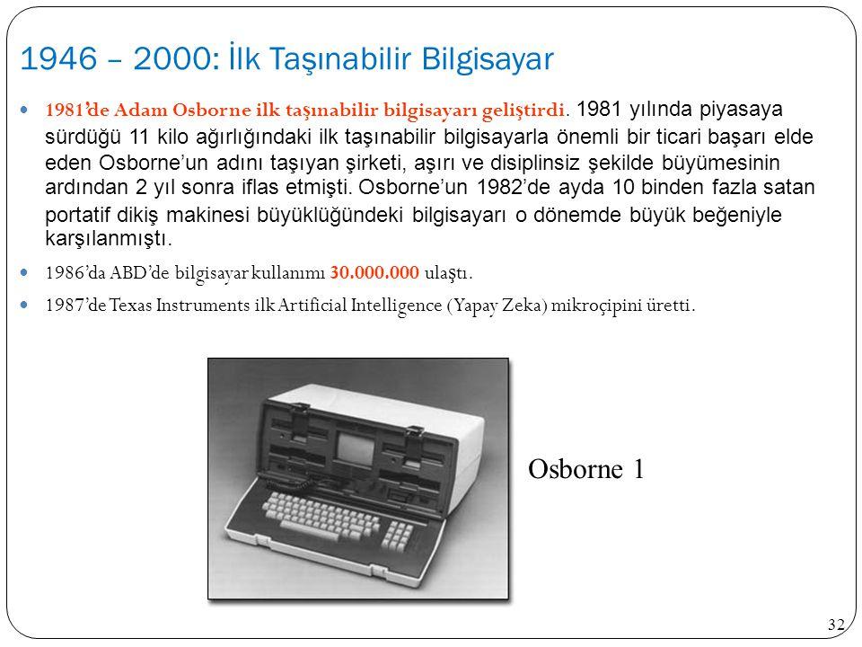 32 1981'de Adam Osborne ilk ta ş ınabilir bilgisayarı geli ş tirdi. 1981 yılında piyasaya sürdüğü 11 kilo ağırlığındaki ilk taşınabilir bilgisayarla ö
