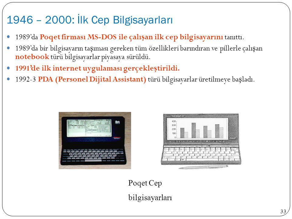 33 1989'da Poqet firması MS-DOS ile çalı ş an ilk cep bilgisayarını tanıttı. 1989'da bir bilgisayarın ta ş ıması gereken tüm özellikleri barındıran ve