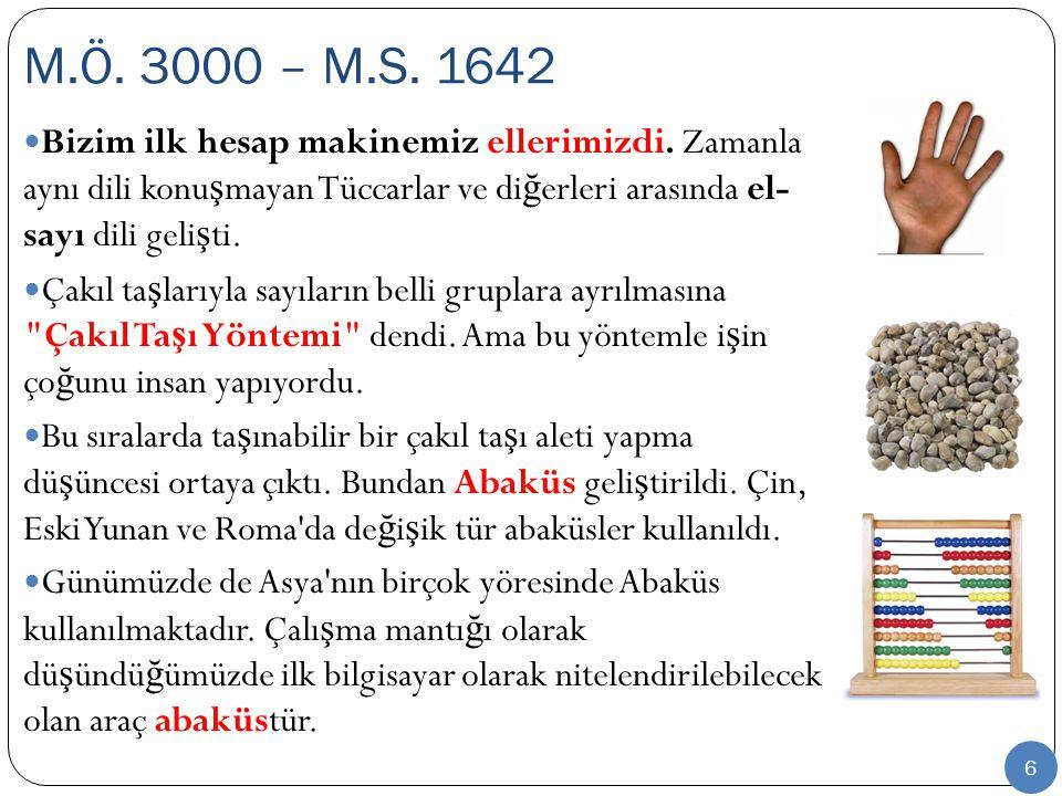 6 Bizim ilk hesap makinemiz ellerimizdi. Zamanla aynı dili konu ş mayan Tüccarlar ve di ğ erleri arasında el- sayı dili geli ş ti. Çakıl ta ş larıyla