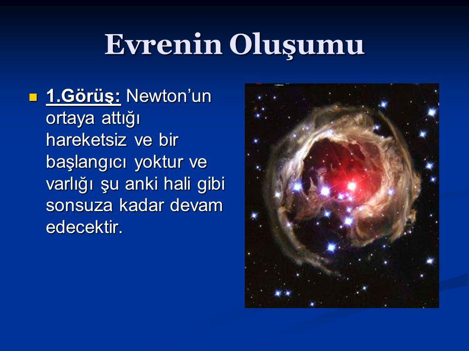 Evrenin Oluşumu 1.Görüş: Newton'un ortaya attığı hareketsiz ve bir başlangıcı yoktur ve varlığı şu anki hali gibi sonsuza kadar devam edecektir. 1.Gör