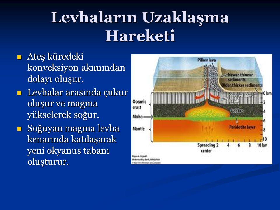 Levhaların Uzaklaşma Hareketi Ateş küredeki konveksiyon akımından dolayı oluşur. Ateş küredeki konveksiyon akımından dolayı oluşur. Levhalar arasında