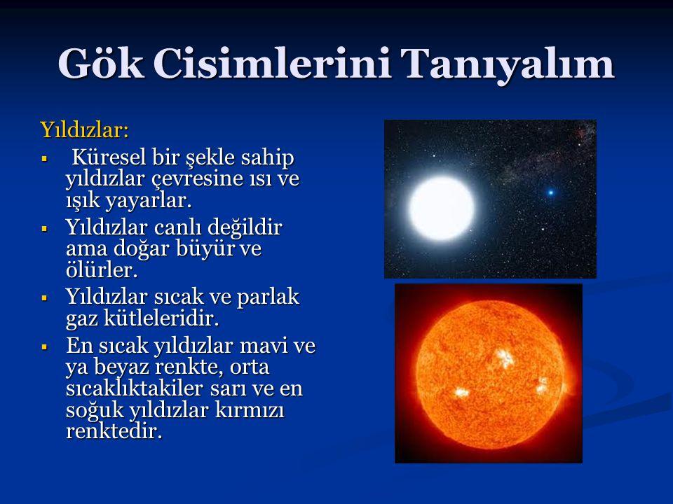 Gök Cisimlerini Tanıyalım Yıldızlar:  Küresel bir şekle sahip yıldızlar çevresine ısı ve ışık yayarlar.  Yıldızlar canlı değildir ama doğar büyür ve