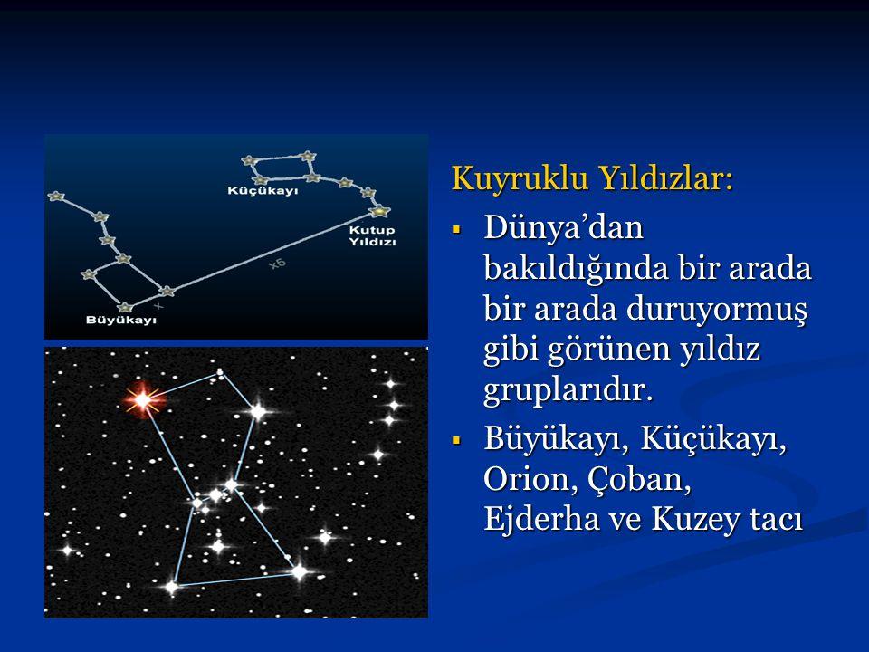 Kuyruklu Yıldızlar:  Dünya'dan bakıldığında bir arada bir arada duruyormuş gibi görünen yıldız gruplarıdır.  Büyükayı, Küçükayı, Orion, Çoban, Ejder