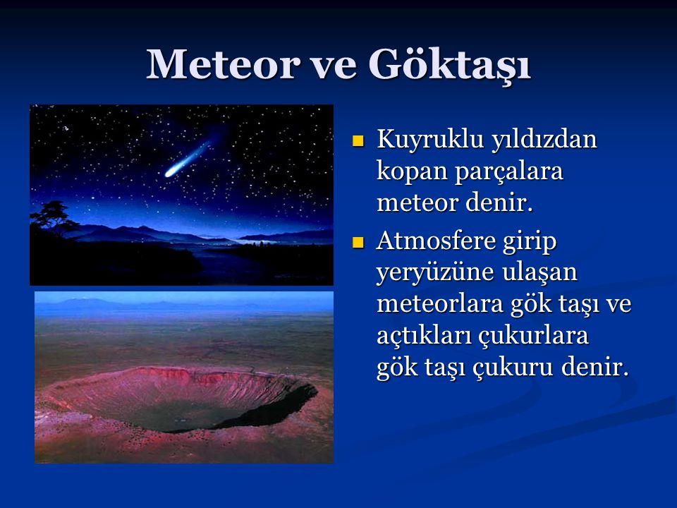 Meteor ve Göktaşı Kuyruklu yıldızdan kopan parçalara meteor denir. Atmosfere girip yeryüzüne ulaşan meteorlara gök taşı ve açtıkları çukurlara gök taş