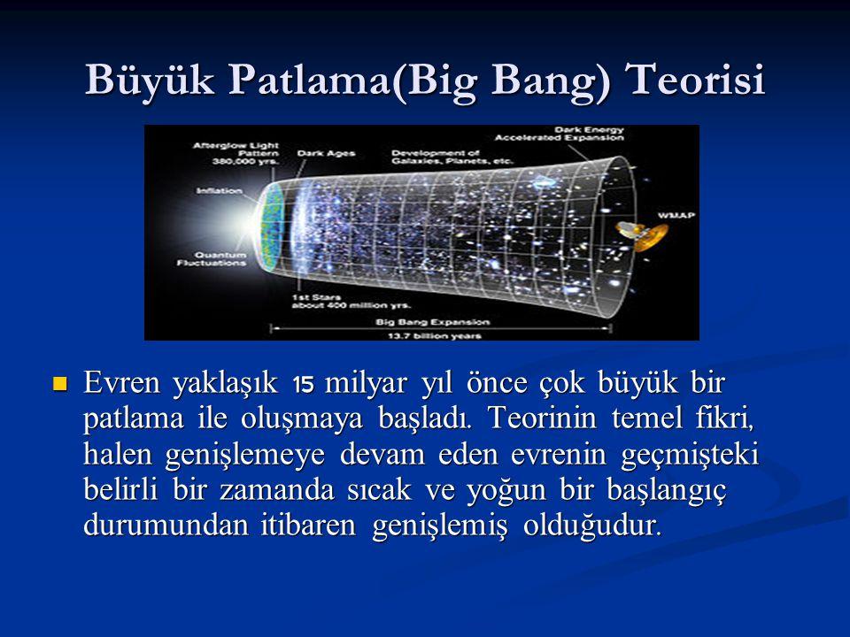 Büyük Patlama(Big Bang) Teorisi Evren yaklaşık 15 milyar yıl önce çok büyük bir patlama ile oluşmaya başladı. Teorinin temel fikri, halen genişlemeye