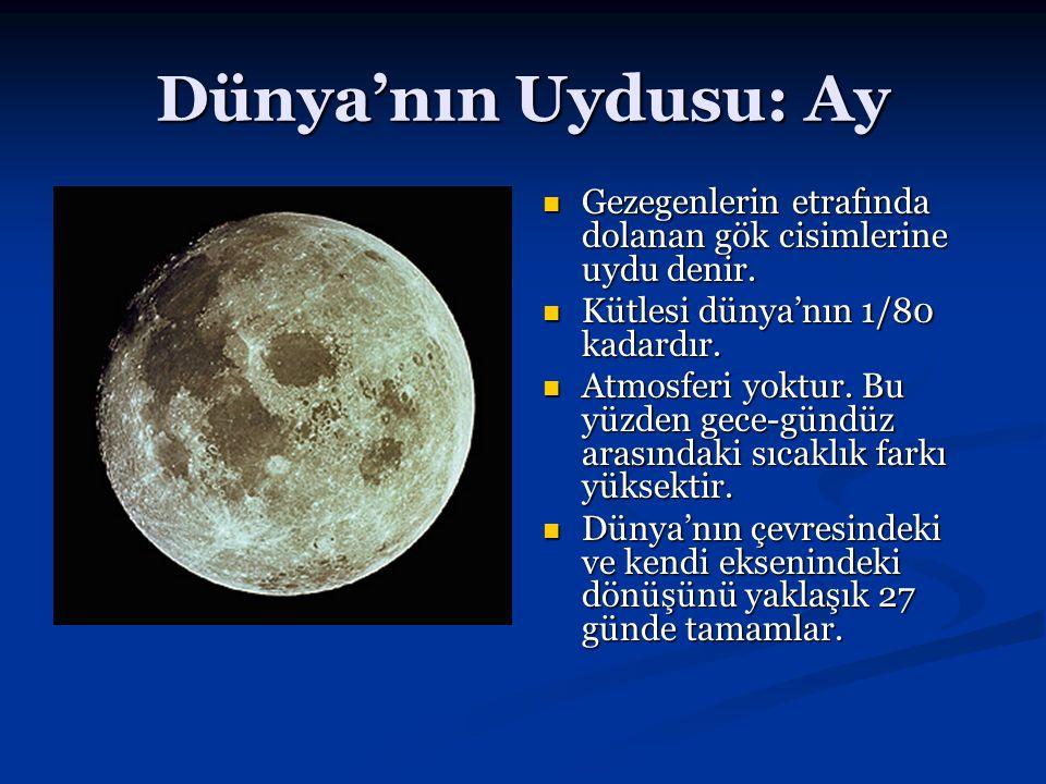 Dünya'nın Uydusu: Ay Gezegenlerin etrafında dolanan gök cisimlerine uydu denir. Kütlesi dünya'nın 1/80 kadardır. Atmosferi yoktur. Bu yüzden gece-günd