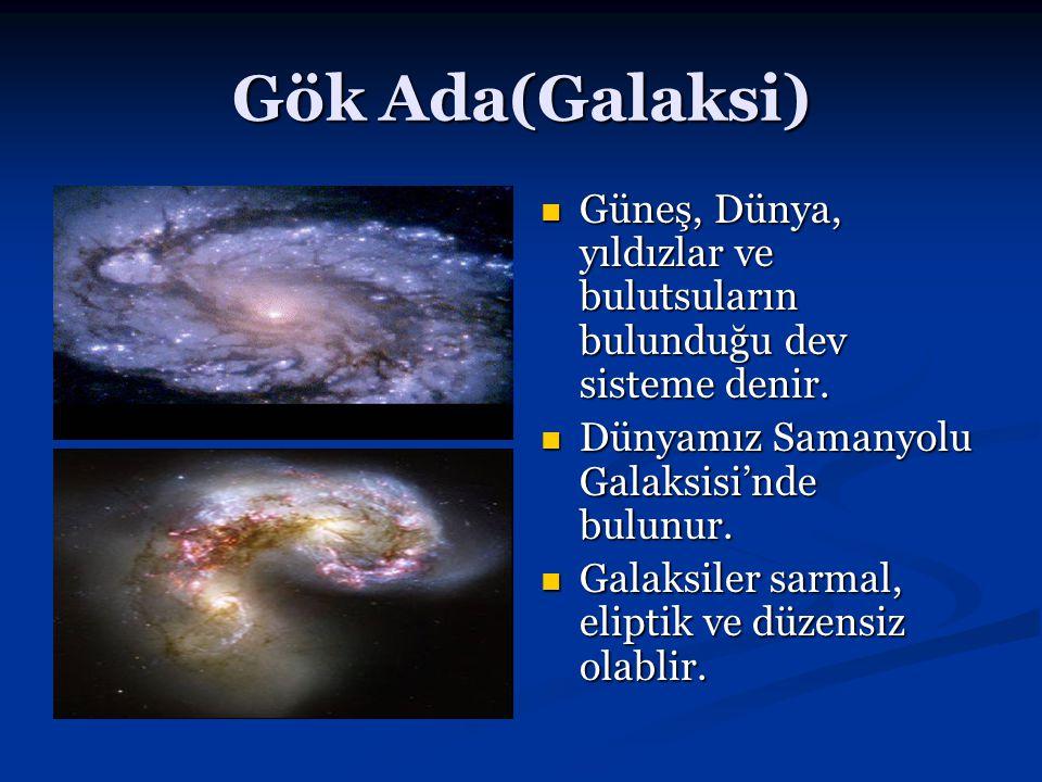 Gök Ada(Galaksi) Güneş, Dünya, yıldızlar ve bulutsuların bulunduğu dev sisteme denir. Dünyamız Samanyolu Galaksisi'nde bulunur. Galaksiler sarmal, eli