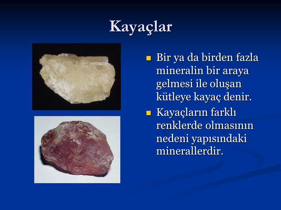 Kayaçlar Bir ya da birden fazla mineralin bir araya gelmesi ile oluşan kütleye kayaç denir. Kayaçların farklı renklerde olmasının nedeni yapısındaki m