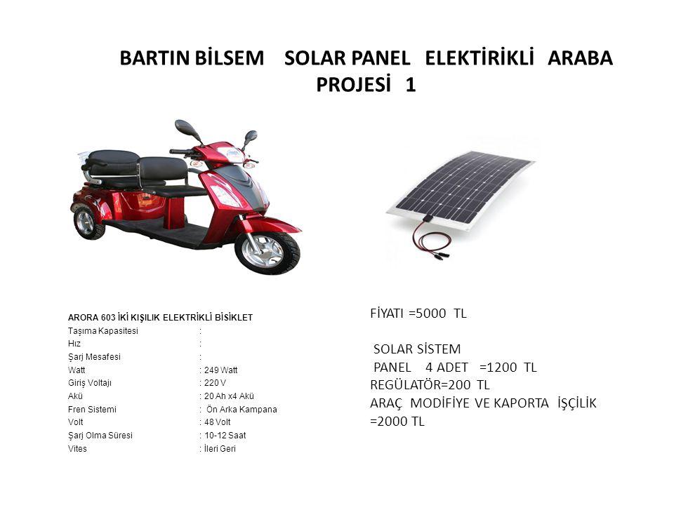 BARTIN BİLSEM SOLAR PANEL ELEKTİRİKLİ ARABA PROJESİ 1 ARORA 603 İKİ KIŞILIK ELEKTRİKLİ BİSİKLET Taşıma Kapasitesi: Hız: Şarj Mesafesi: Watt: 249 Watt