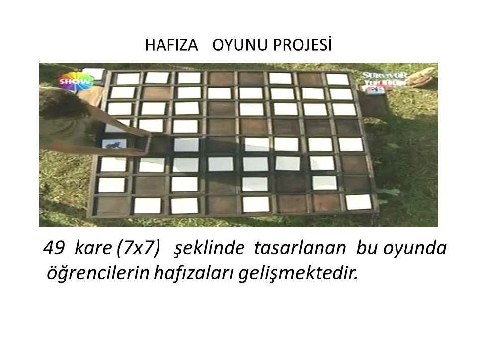 HAFIZA OYUNU PROJESİ 49 kare (7x7) şeklinde tasarlanan bu oyunda öğrencilerin hafızaları gelişmektedir.