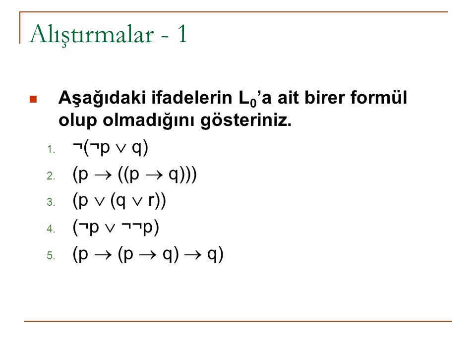 Alıştırmalar - 1 Aşağıdaki ifadelerin L 0 'a ait birer formül olup olmadığını gösteriniz. 1. ¬(¬p  q) 2. (p  ((p  q))) 3. (p  (q  r)) 4. (¬p  ¬¬