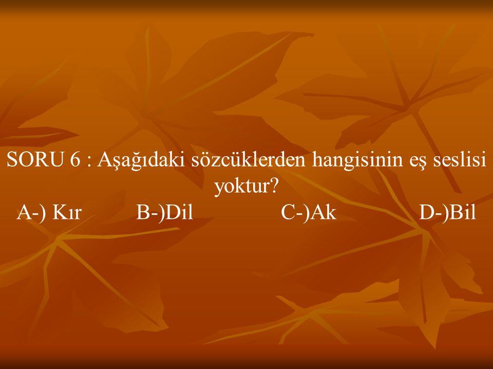 SORU 6 : Aşağıdaki sözcüklerden hangisinin eş seslisi yoktur? A-) Kır B-)Dil C-)Ak D-)Bil