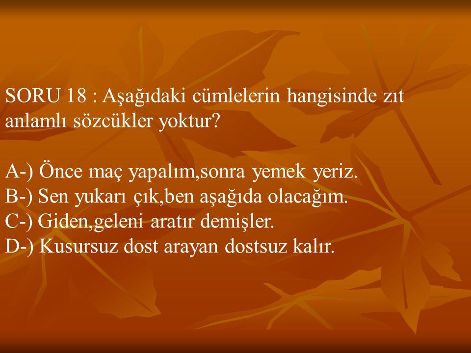 SORU 18 : Aşağıdaki cümlelerin hangisinde zıt anlamlı sözcükler yoktur? A-) Önce maç yapalım,sonra yemek yeriz. B-) Sen yukarı çık,ben aşağıda olacağı