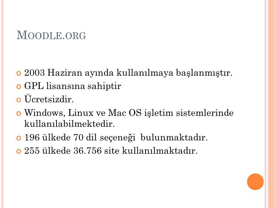 M OODLE. ORG 2003 Haziran ayında kullanılmaya başlanmıştır. GPL lisansına sahiptir Ücretsizdir. Windows, Linux ve Mac OS işletim sistemlerinde kullanı