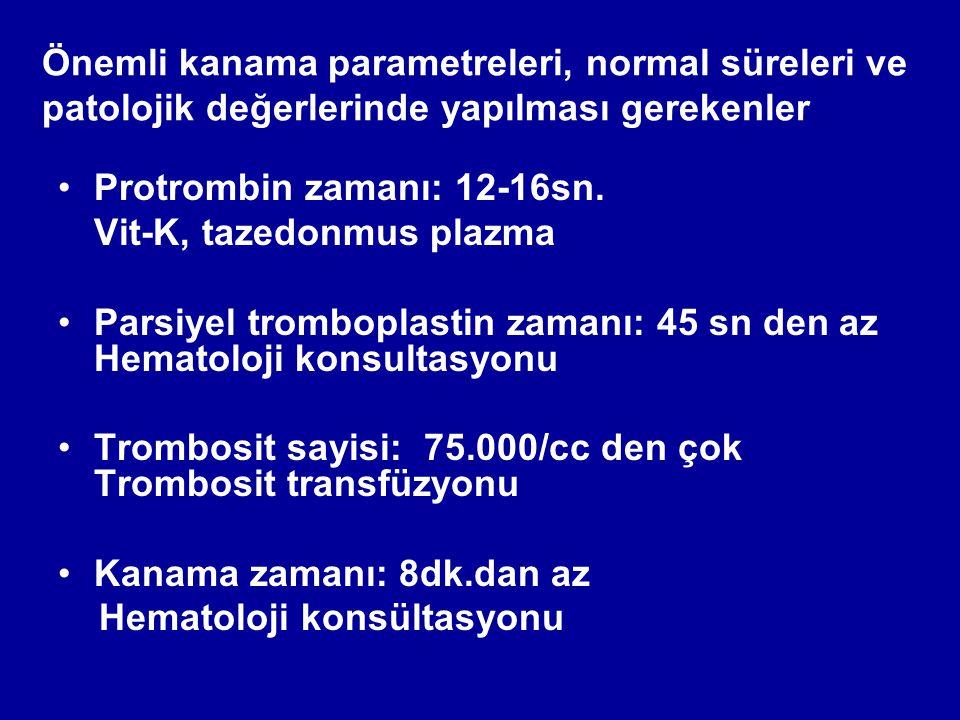 Önemli kanama parametreleri, normal süreleri ve patolojik değerlerinde yapılması gerekenler Protrombin zamanı: 12-16sn.