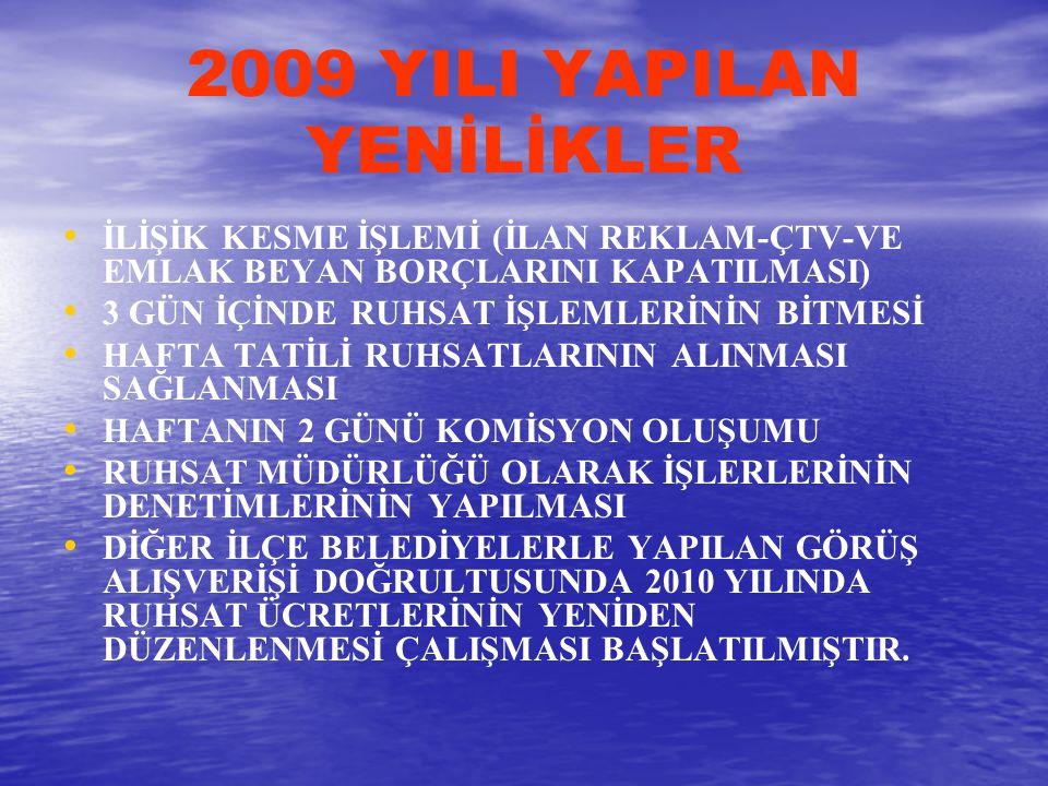 2009 YILI YAPILAN YENİLİKLER İLİŞİK KESME İŞLEMİ (İLAN REKLAM-ÇTV-VE EMLAK BEYAN BORÇLARINI KAPATILMASI) 3 GÜN İÇİNDE RUHSAT İŞLEMLERİNİN BİTMESİ HAFT
