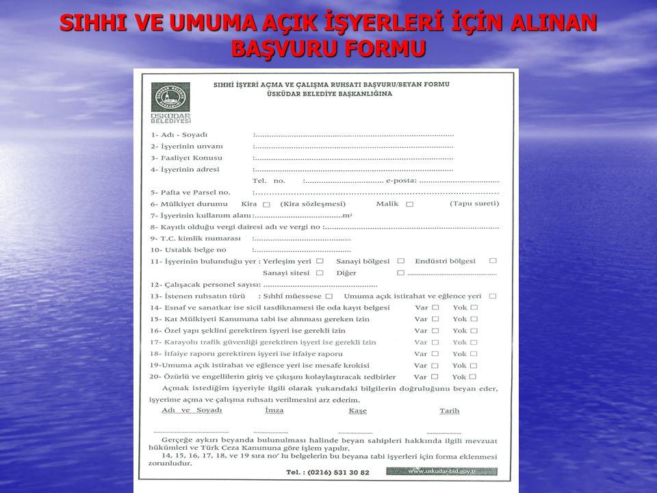 GAYRİ SIHHI İŞYERLERİ İÇİN BAŞVURU FORMU