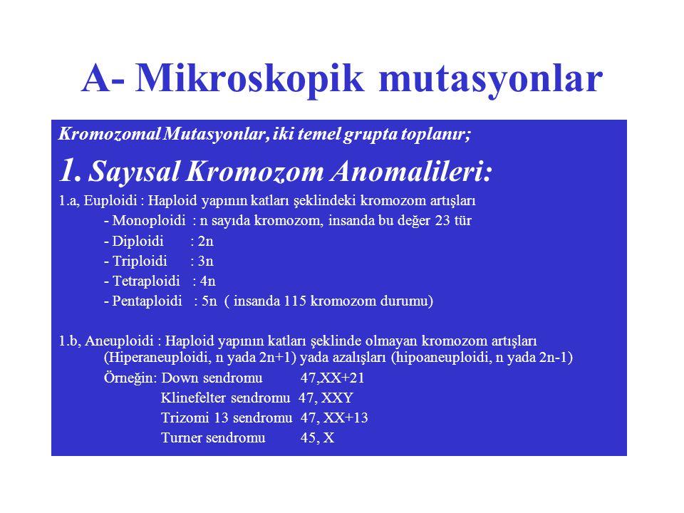 A- Mikroskopik mutasyonlar Kromozomal Mutasyonlar, iki temel grupta toplanır; 1.