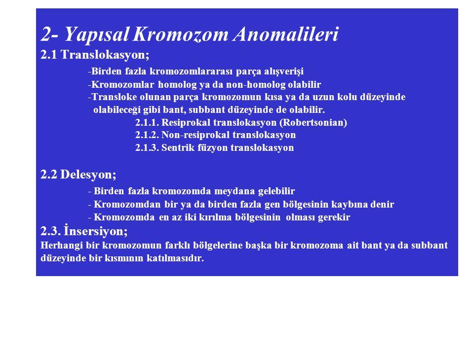 2- Yapısal Kromozom Anomalileri 2.1 Translokasyon; -Birden fazla kromozomlararası parça alışverişi -Kromozomlar homolog ya da non-homolog olabilir -Transloke olunan parça kromozomun kısa ya da uzun kolu düzeyinde olabileceği gibi bant, subbant düzeyinde de olabilir.