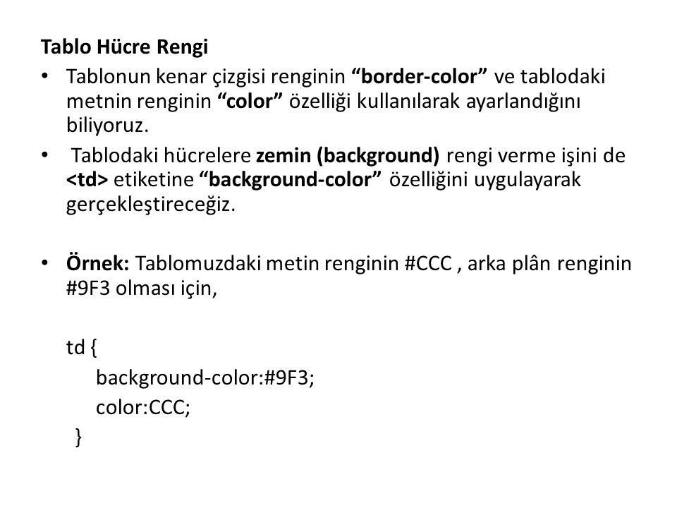 Tablo Hücre Rengi Tablonun kenar çizgisi renginin border-color ve tablodaki metnin renginin color özelliği kullanılarak ayarlandığını biliyoruz.