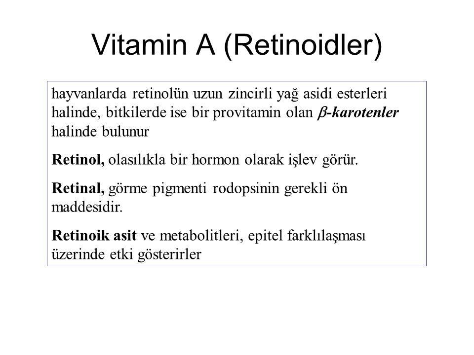 Vitamin A (Retinoidler) hayvanlarda retinolün uzun zincirli yağ asidi esterleri halinde, bitkilerde ise bir provitamin olan  -karotenler halinde bulunur Retinol, olasılıkla bir hormon olarak işlev görür.