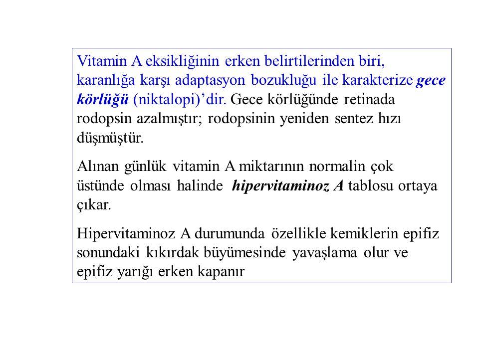 Vitamin A eksikliğinin erken belirtilerinden biri, karanlığa karşı adaptasyon bozukluğu ile karakterize gece körlüğü (niktalopi)'dir.