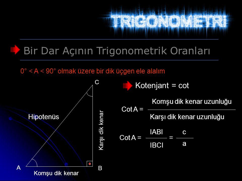 Bir Dar Açının Trigonometrik Oranları 0° < A < 90° olmak üzere bir dik üçgen ele alalım Hipotenüs Karşı dik kenar Komşu dik kenar A B C Kotenjant = co