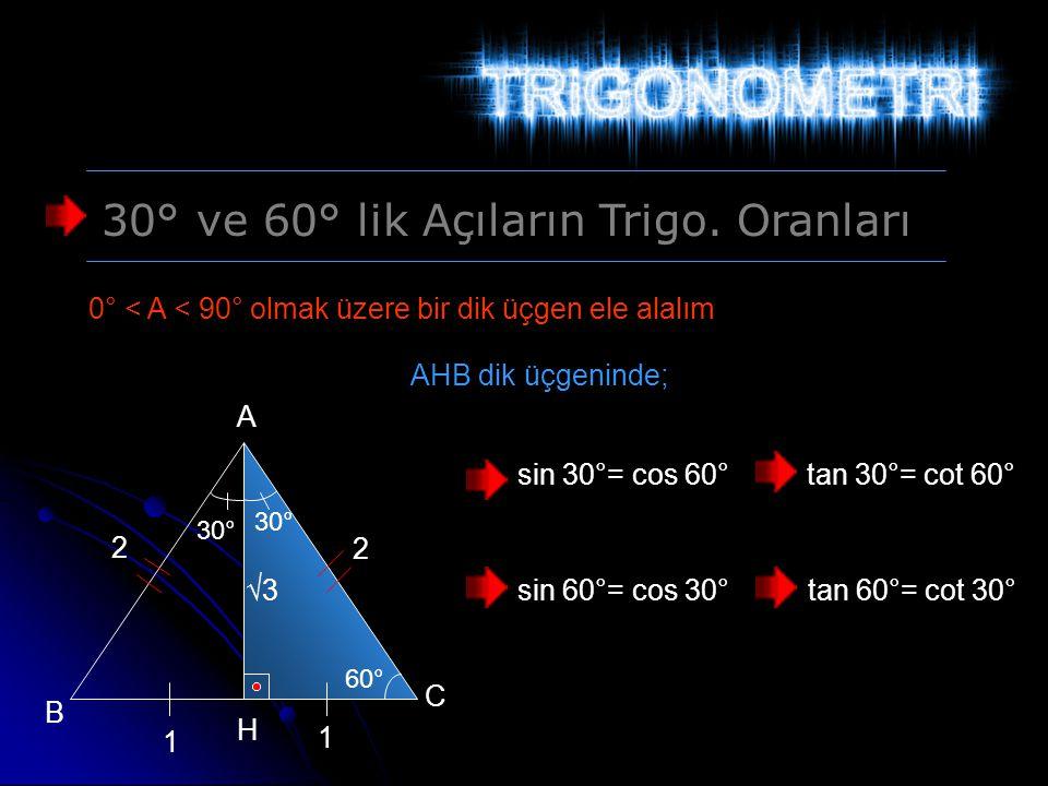 30° ve 60° lik Açıların Trigo. Oranları 0° < A < 90° olmak üzere bir dik üçgen ele alalım 30° 60° A B C √3 2 2 1 1 H AHB dik üçgeninde; sin 30°= cos 6