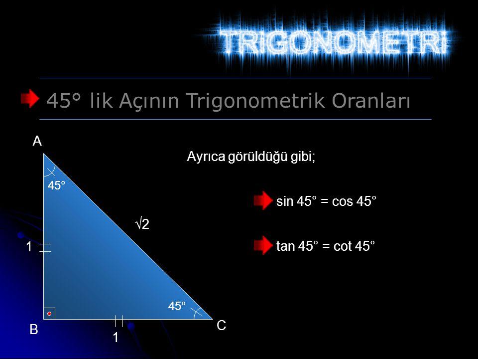 45° lik Açının Trigonometrik Oranları 45° 1 1 √2 A B C sin 45° = cos 45° tan 45° = cot 45° Ayrıca görüldüğü gibi;