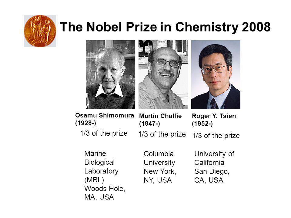 The Nobel Prize in Chemistry 2008 Osamu Shimomura (1928-) Martin Chalfie (1947-) Roger Y.