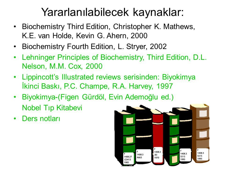 Yararlanılabilecek kaynaklar: Biochemistry Third Edition, Christopher K.