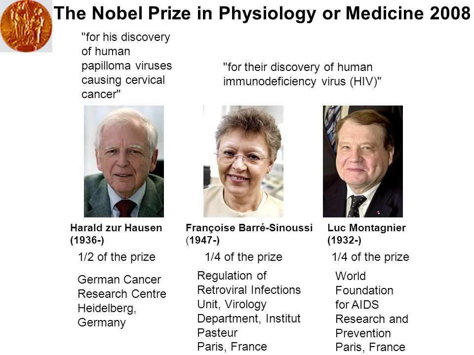 Harald zur Hausen (1936-) Françoise Barré-Sinoussi (1947-) Luc Montagnier (1932-) 1/2 of the prize German Cancer Research Centre Heidelberg, Germany 1/4 of the prize Regulation of Retroviral Infections Unit, Virology Department, Institut Pasteur Paris, France World Foundation for AIDS Research and Prevention Paris, France 1/4 of the prize for his discovery of human papilloma viruses causing cervical cancer for their discovery of human immunodeficiency virus (HIV) The Nobel Prize in Physiology or Medicine 2008