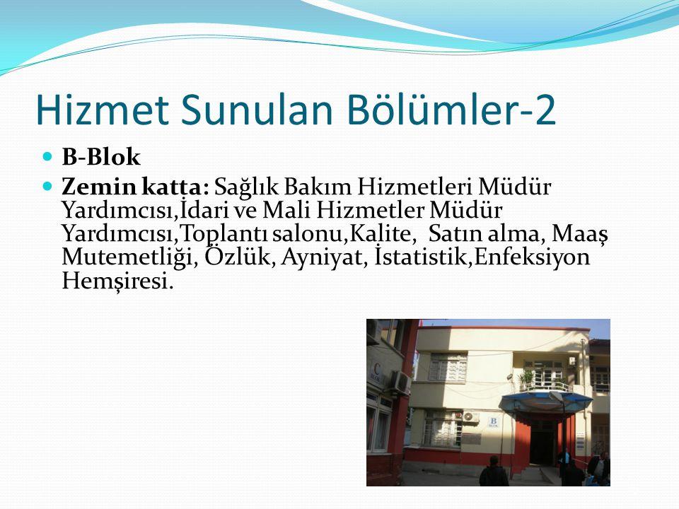 Hizmet Sunulan Bölümler-3 1.