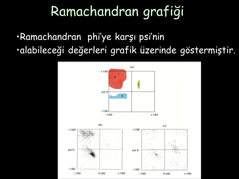 Ramachandran grafiği Ramachandran phi'ye karşı psi'nin alabileceği değerleri grafik üzerinde göstermiştir.