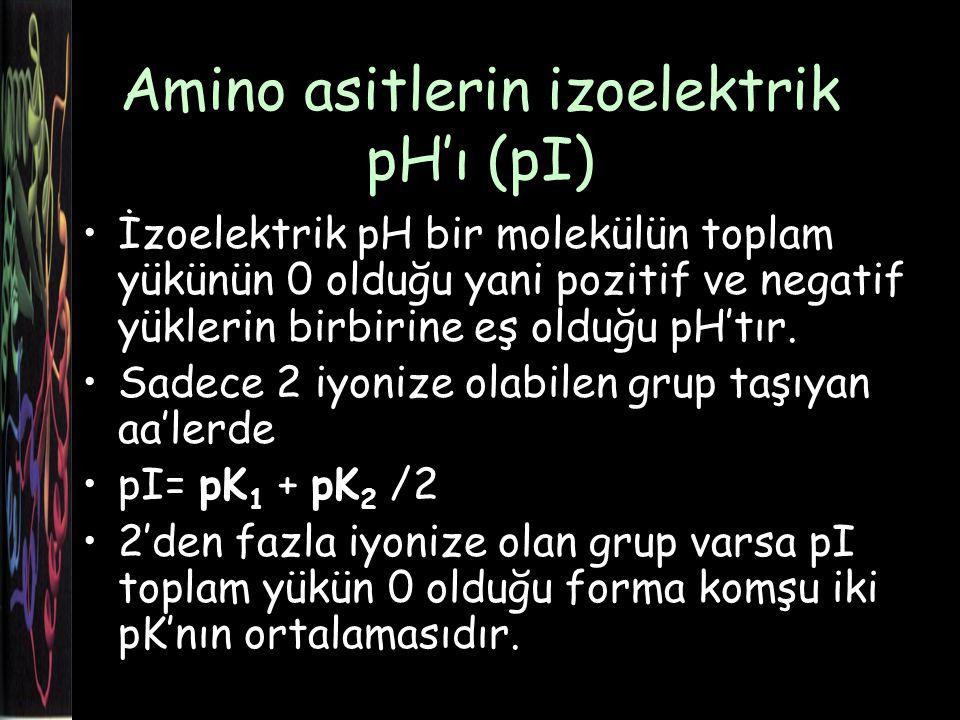 Amino asitlerin izoelektrik pH'ı (pI) İzoelektrik pH bir molekülün toplam yükünün 0 olduğu yani pozitif ve negatif yüklerin birbirine eş olduğu pH'tır.