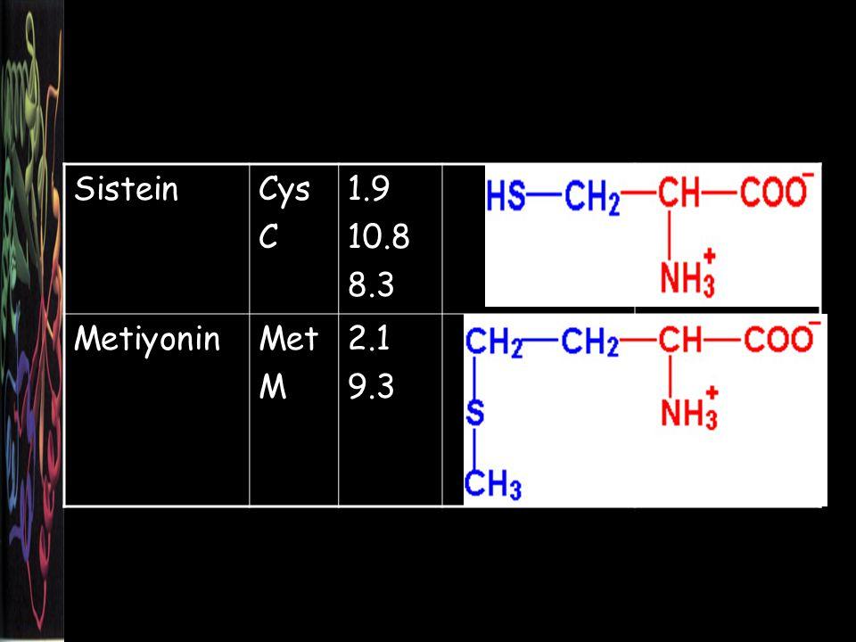 SisteinCys C 1.9 10.8 8.3 MetiyoninMet M 2.1 9.3
