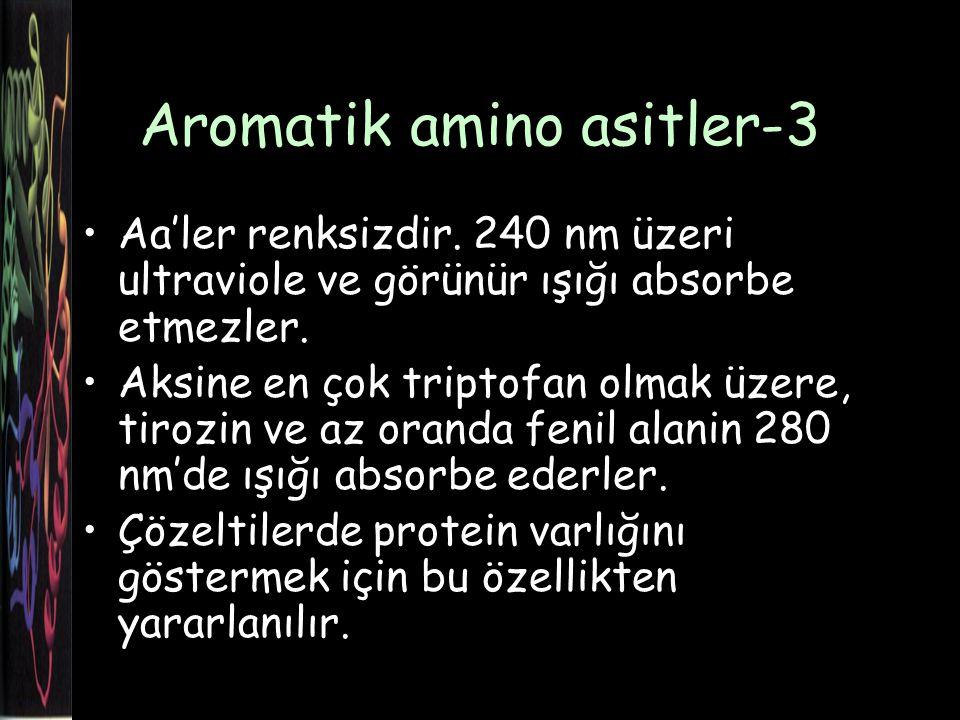 Aromatik amino asitler-3 Aa'ler renksizdir.