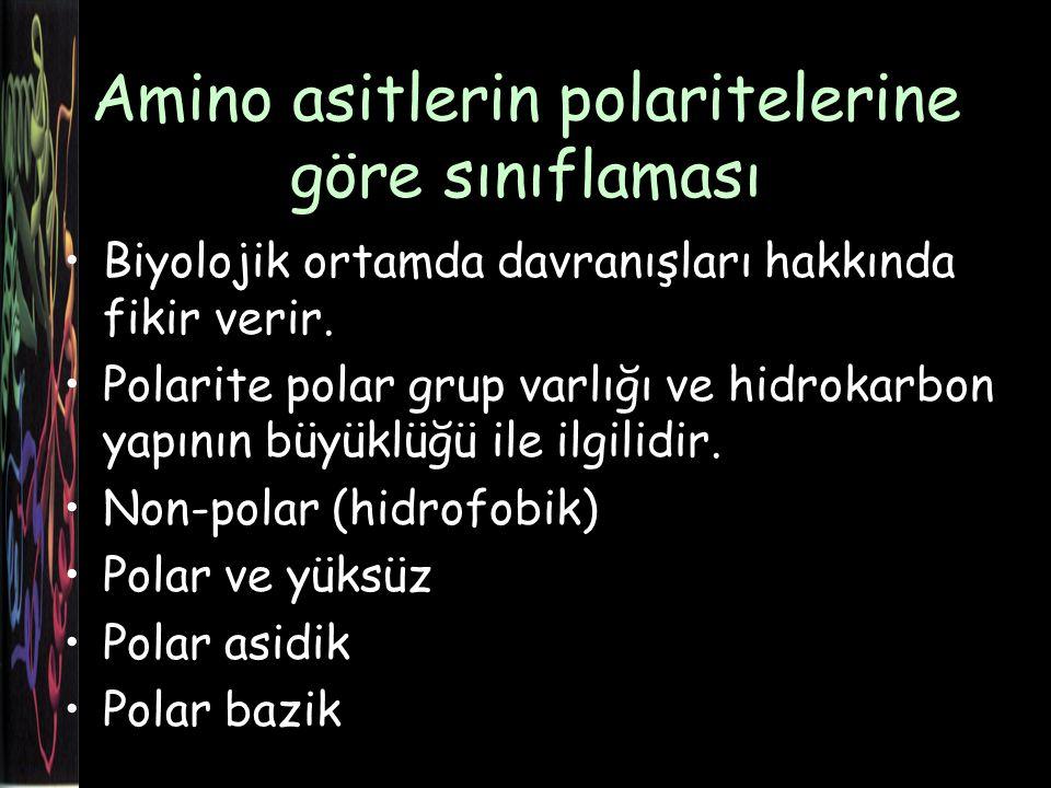 Amino asitlerin polaritelerine göre sınıflaması Biyolojik ortamda davranışları hakkında fikir verir.