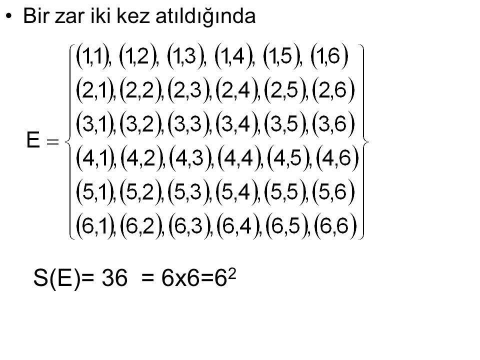 Bir zar iki kez atıldığında S(E)= 36= 6x6=6 2