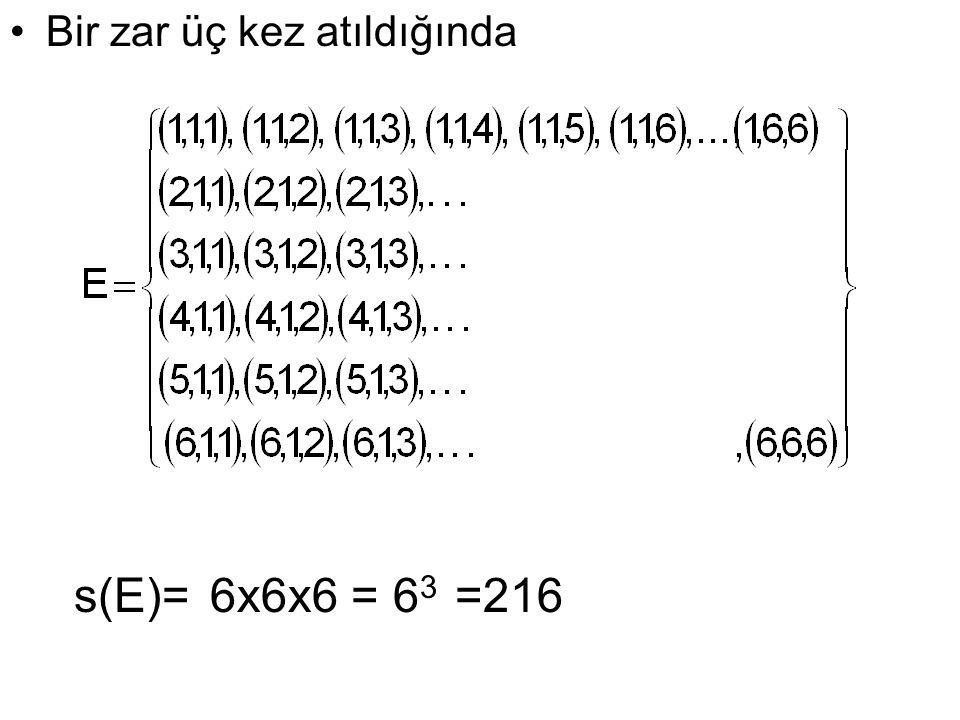 Bir zar üç kez atıldığında s(E)=6x6x6 = 6 3 =216